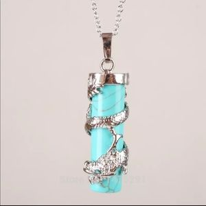 Other - Genuine Turquoise column Silver Men Gift Necklace